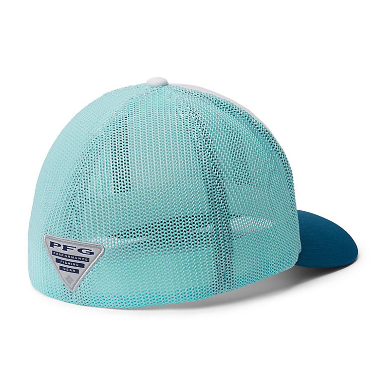 ba4af2007bde9b White, Gulf Stream, Dark Turquoise PFG Mesh Fish Flag Ball Cap, View 1