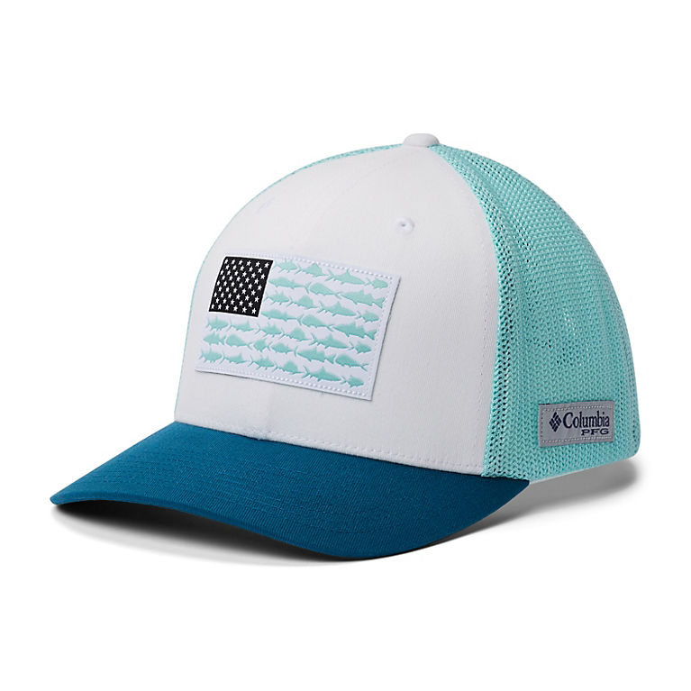 ae817f81d8cdec White, Gulf Stream, Dark Turquoise PFG Mesh Fish Flag Ball Cap, View 0