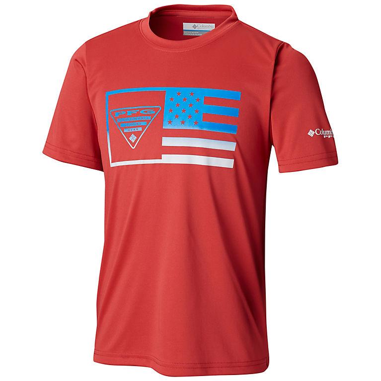 9b249bbf880 Sunset Red Flag Boys' PFG™ Stamp Short Sleeve Shirt, ...