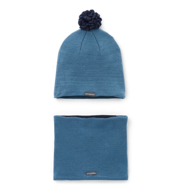 Youth Snow More™ Hat and Gaite | 407 | O/S Toddlers' Snow More Hat and Gaiter Set, Blue Heron Bear, back