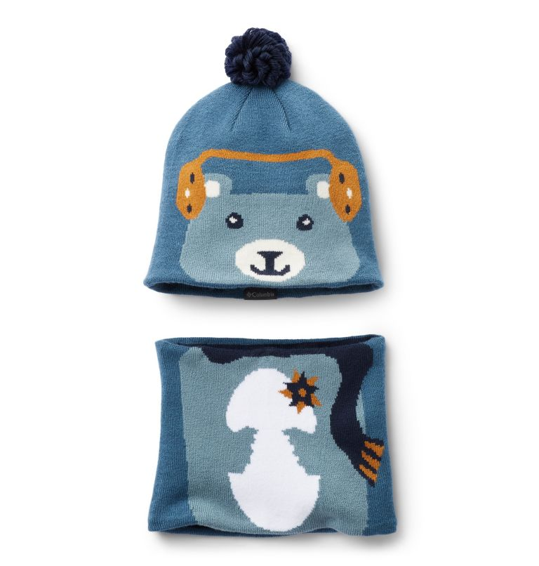 Youth Snow More™ Hat and Gaite | 407 | O/S Toddlers' Snow More Hat and Gaiter Set, Blue Heron Bear, front