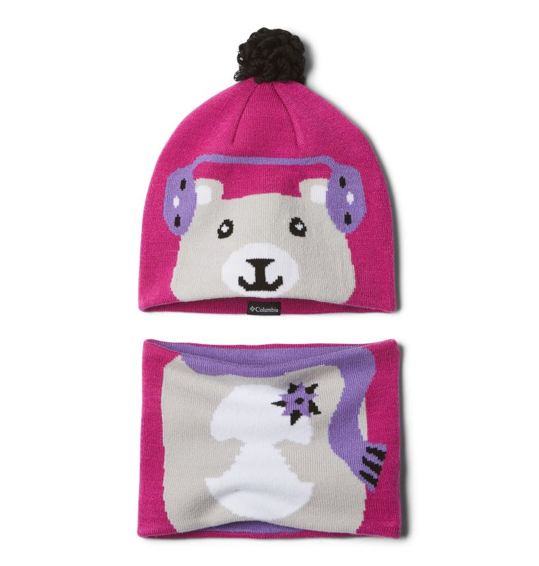 Youth Snow More™ Hat and Gaite | 695 | O/S Toddlers' Snow More Hat and Gaiter Set, Pink Ice Bear, front