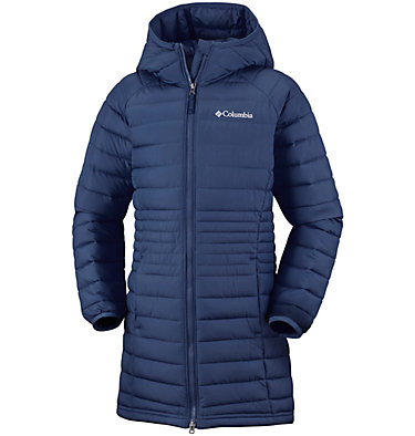 Girls' Long Hooded Powder Lite™ Jacket , front
