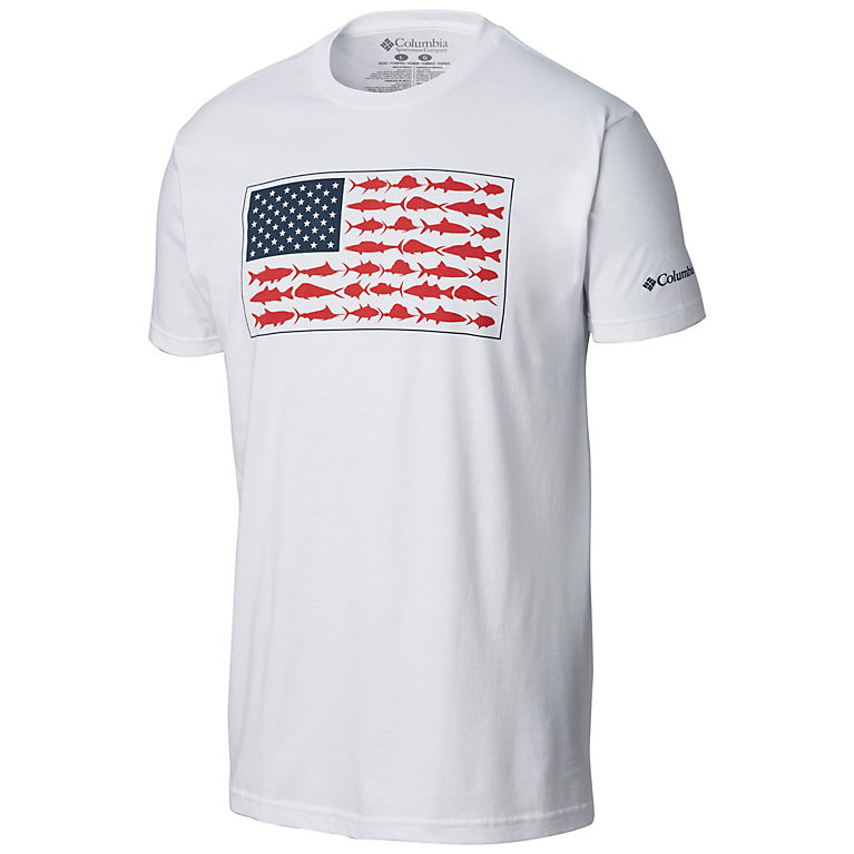 56702c7b5c8 White Men s PFG American Fish Flag T-shirt