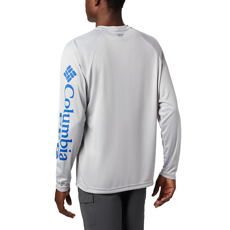 085cd1874da Cool Grey, Vivid Blue Logo Men's PFG Terminal Tackle™ Long Sleeve Tee, View