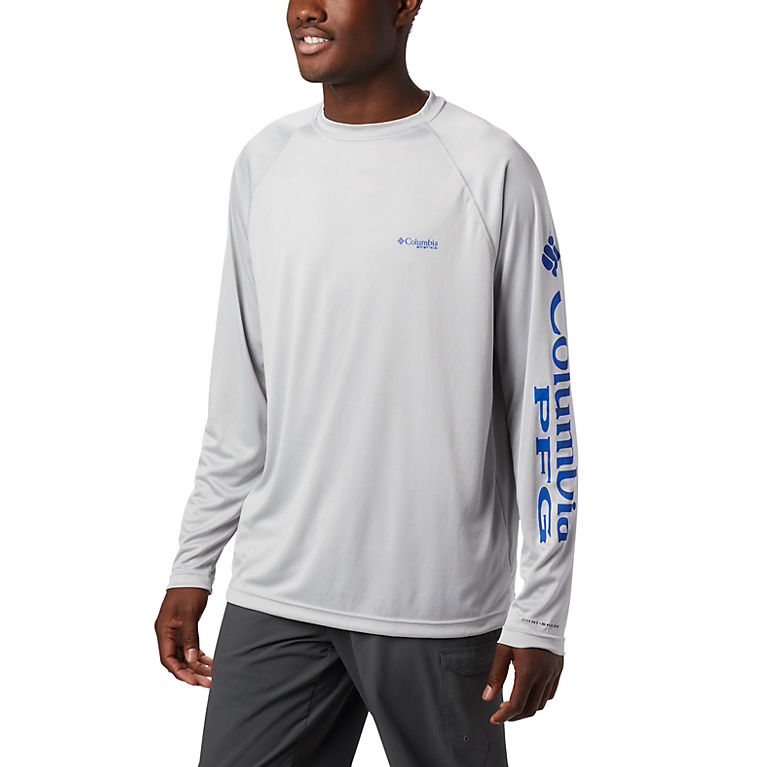 085cd1874da Cool Grey, Vivid Blue Logo Men's PFG Terminal Tackle™ Long Sleeve Tee, View