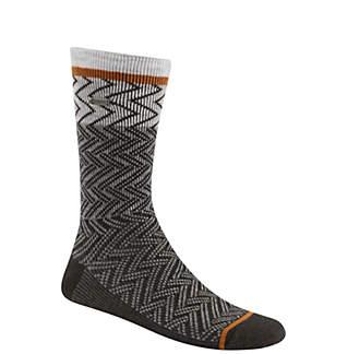 Women's Pattern Block Chevron Wool Crew Socks