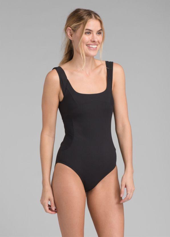 86873087560 Loren Ribbed One Piece Swimsuit, Black Rib ...