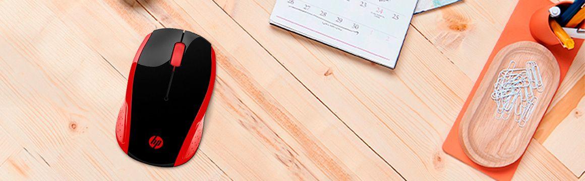 Mouse HP 200 Inalámbrico Rojo perfecto para llevarlo a todas partes
