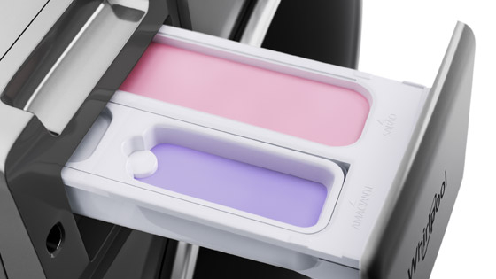 Lavasecadora de 10 Kg de capacidad de funcionamiento con Detergente de Alta Eficiencia HE. Con dos compartimientos para detergente y suavizante.