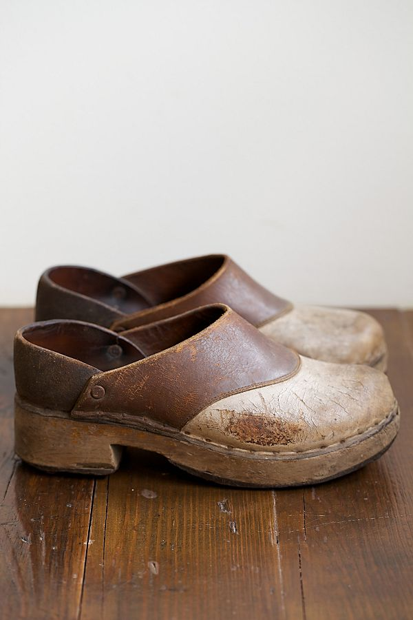 new cheap release date sale online Vintage Leather and Wood Clogs