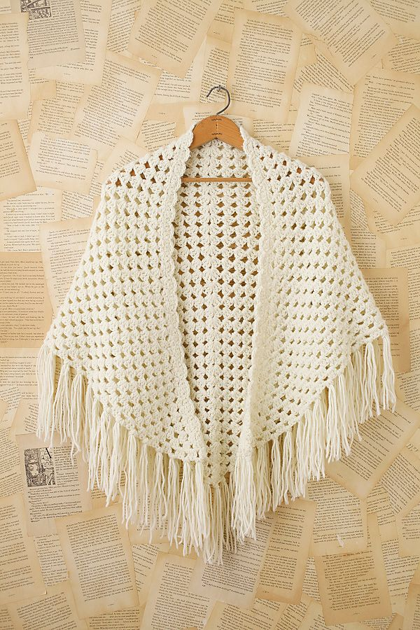 Vintage Granny Crochet Shawl Free People