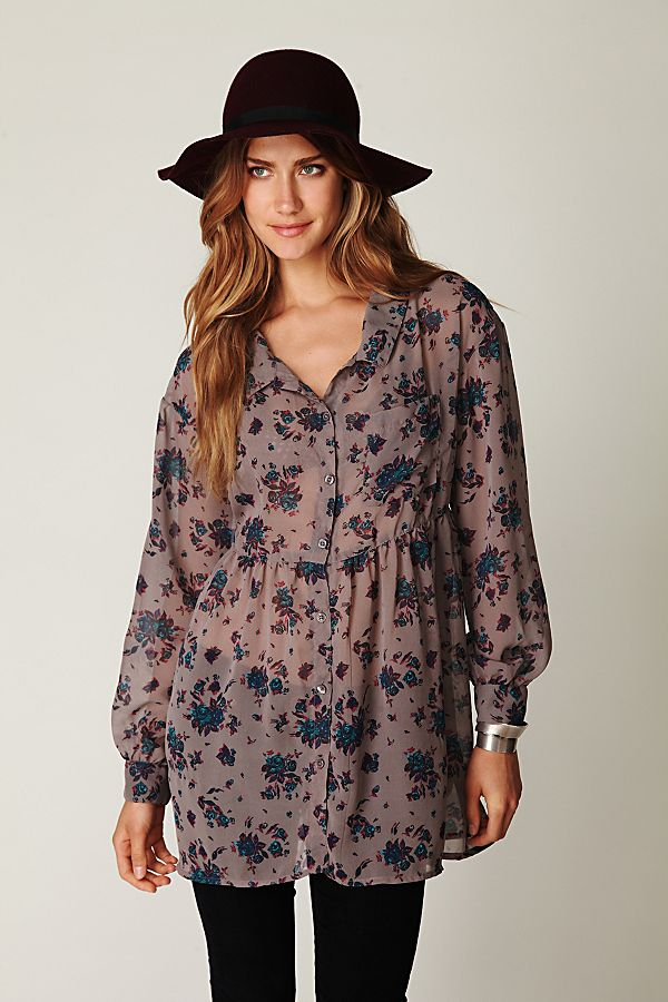 7f92d4d8 Floral Sheer Button Down Tunic | Free People UK