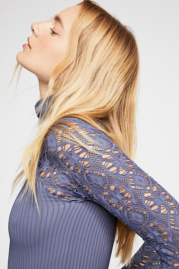 Slide View 4: Rib and Lace Turtleneck