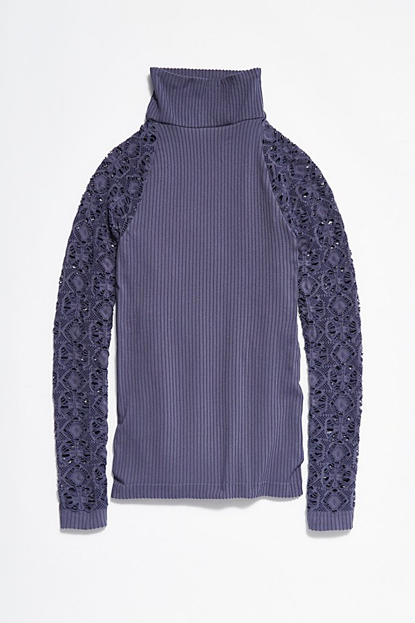 Slide View 5: Rib and Lace Turtleneck