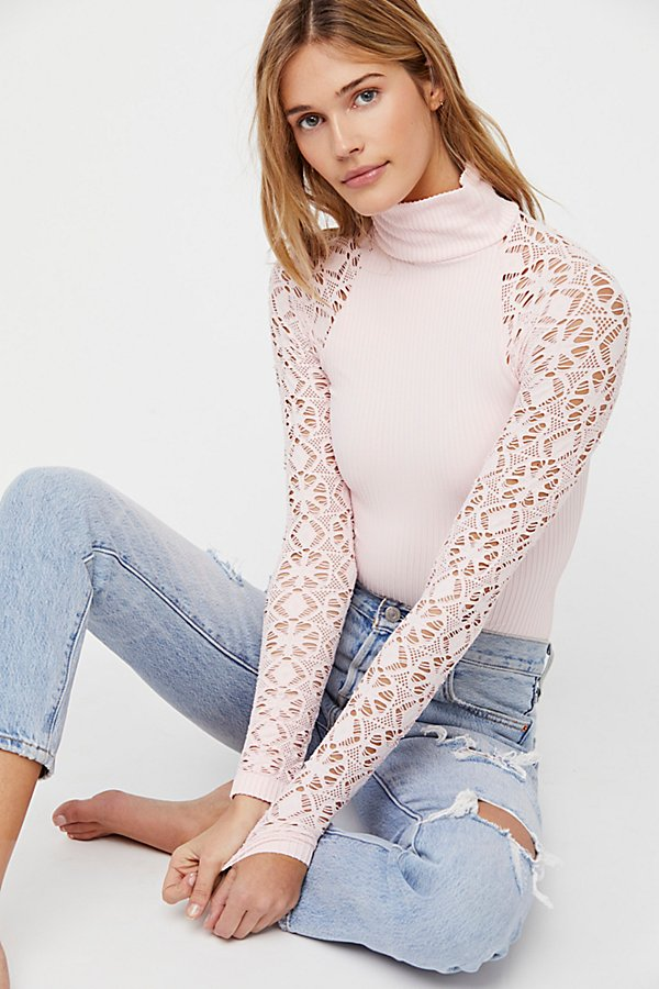 Slide View 1: Rib and Lace Turtleneck