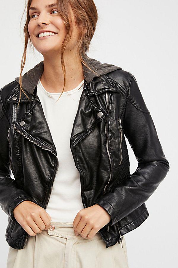 a119fdb32 Vegan Leather Hooded Jacket