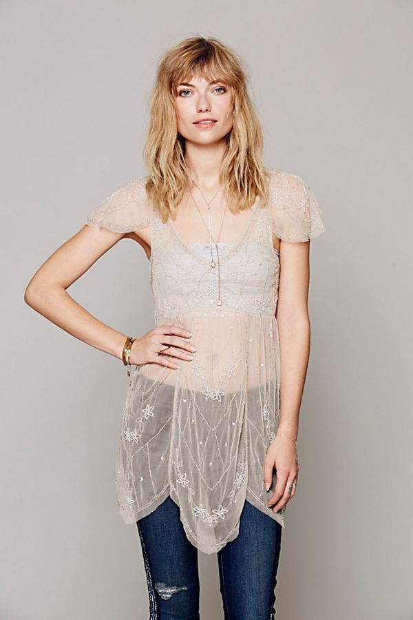f3efca66348 Embellished Flutter Sleeve Sheer Tunic | Free People