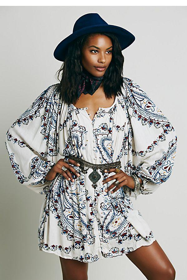 5d040af52d95 Peasant Printed Mini Dress
