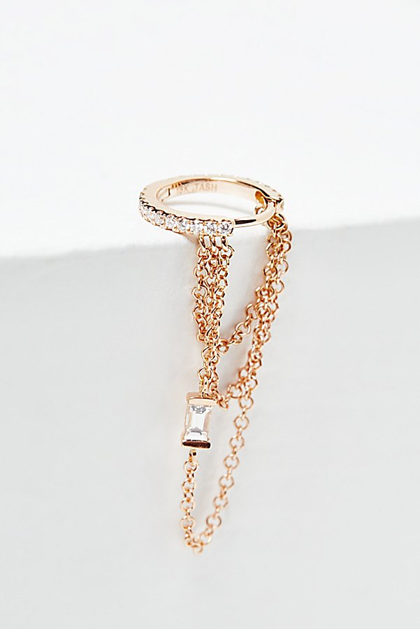 Slide View 1: Diamond Eternity Baguette Chain Hoop Earring