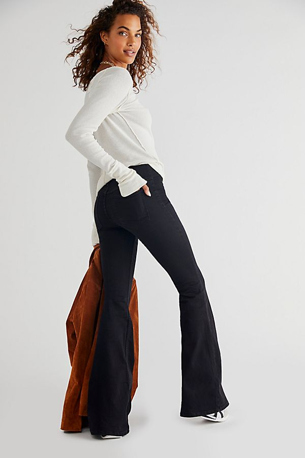 New Free People Penny Black Gray Flare Pants Stretch Jeans Pull On 27 28 30