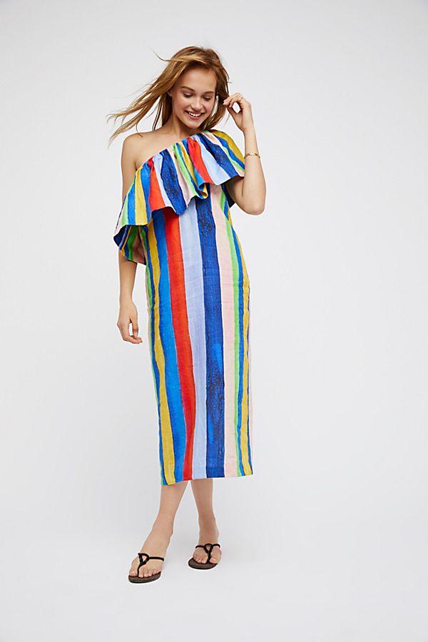 8989f018555b One Shoulder Colorful Midi Dress