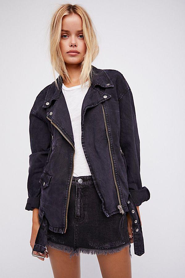 discount collection fine craftsmanship reasonably priced Oversized Denim Moto Jacket
