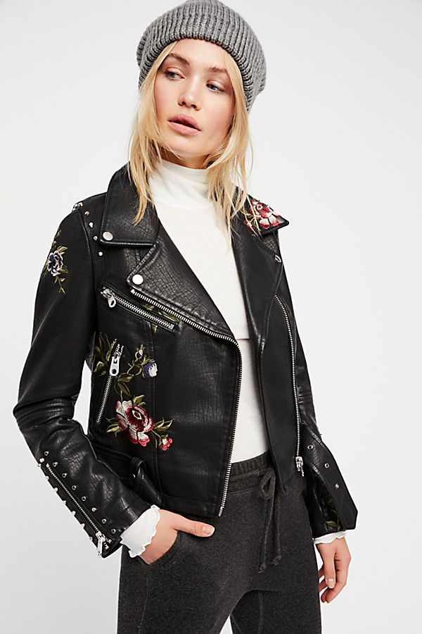 7e74ace28 Faux Leather Embroidered Moto Jacket