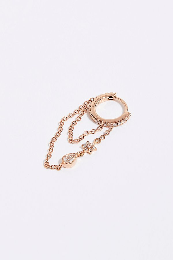 8ee1cb2fadcaf Diamond Eternity Flower and Tear Drop Chain Hoop Earring
