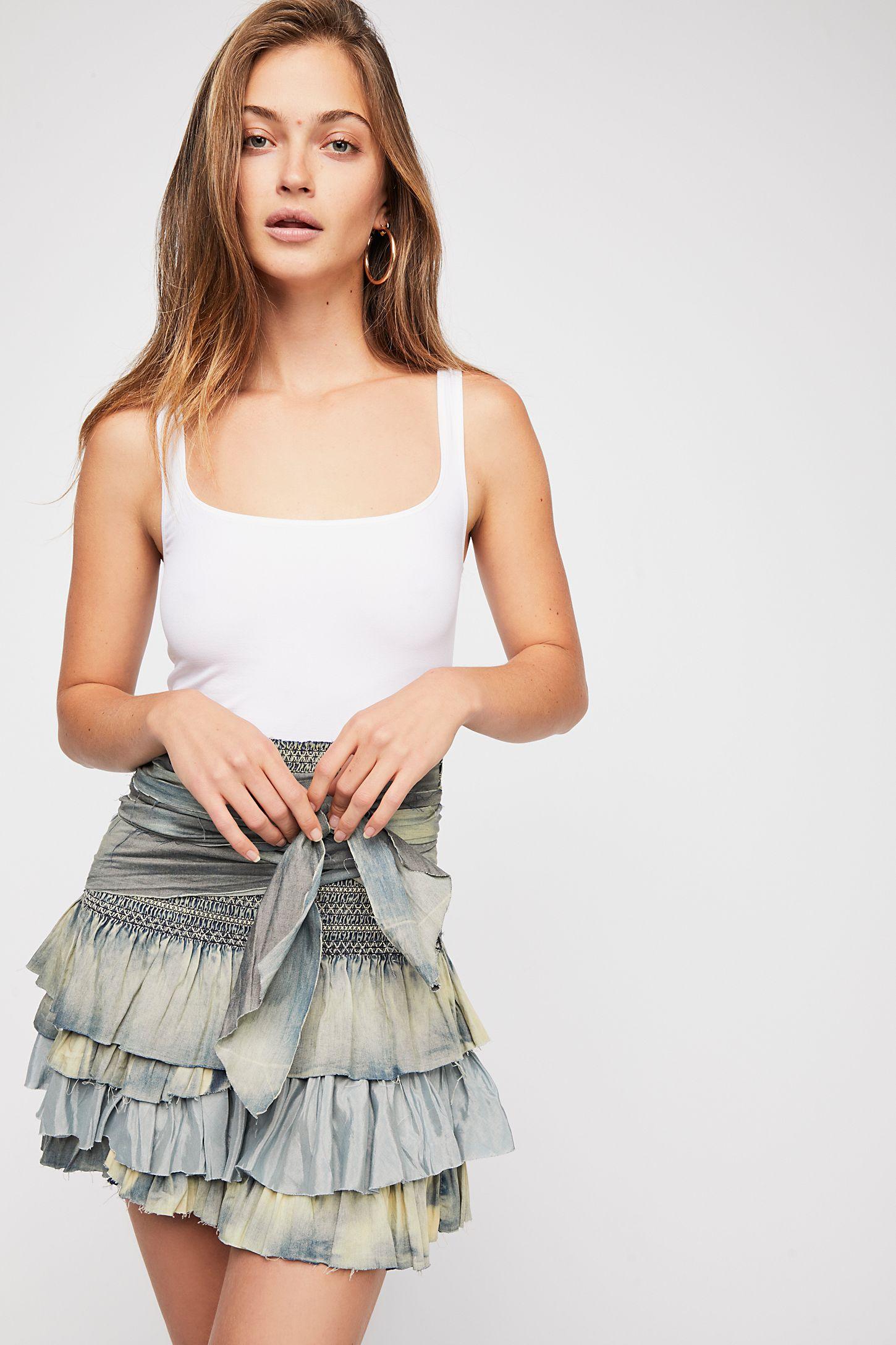 98cf11370f FP One Vintage Denim Ruffle Skirt | Free People