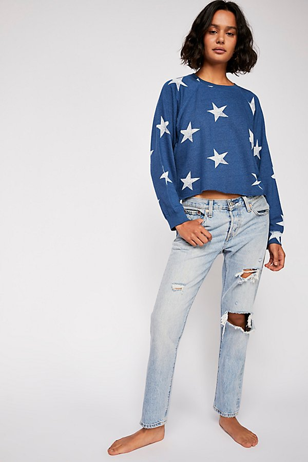 Slide View 4: Oversized Star Cutoff Raglan