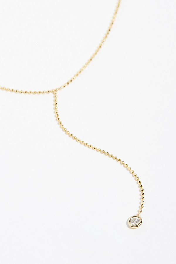 Slide View 1: 14k Floating Diamond Lariat Necklace