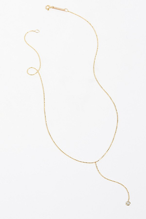 Slide View 2: 14k Floating Diamond Lariat Necklace