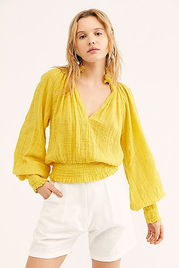 FP One Solid Smocked Top