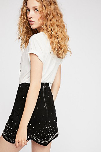 Studded Suede Mini Skirt