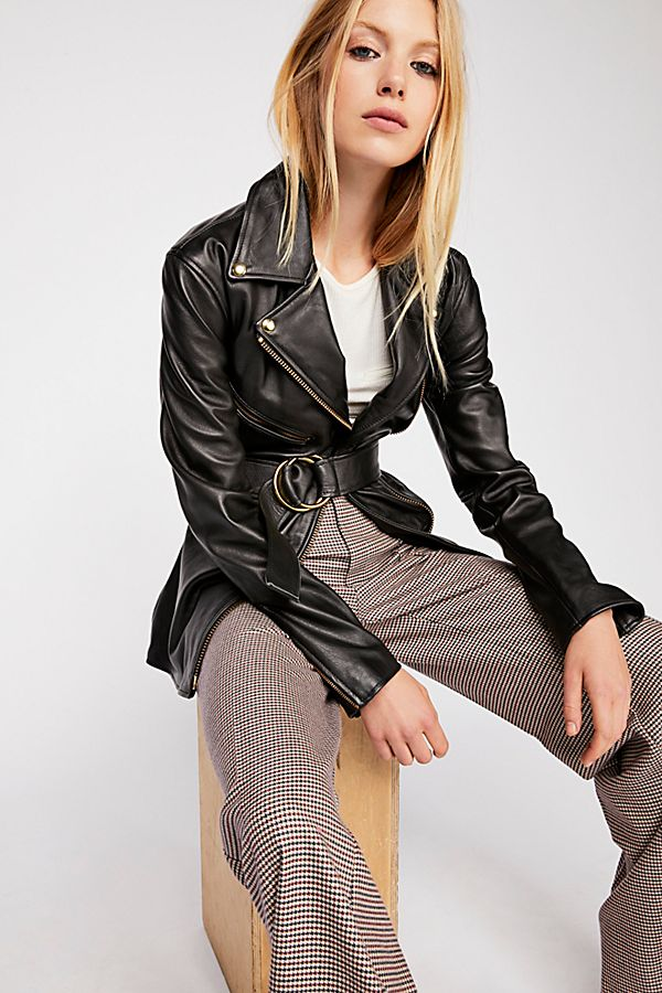 fc7e9c3ec726 Cinched Waist Leather Tie Jacket | Free People UK