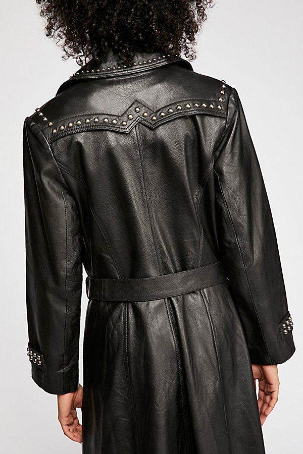 Slide View 2: Studded Leather Trench Coat