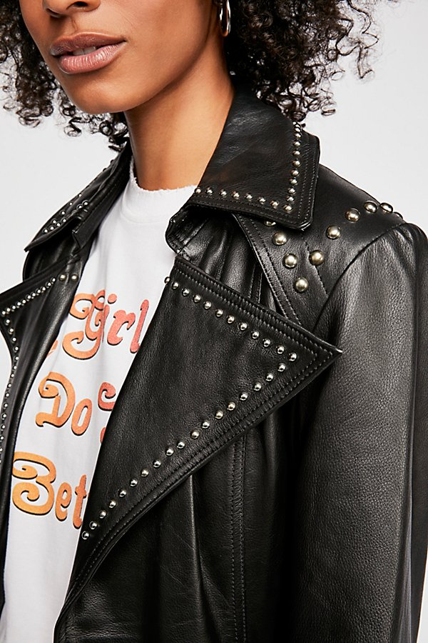 Slide View 4: Studded Leather Trench Coat