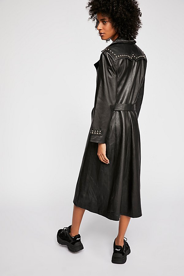 Slide View 5: Studded Leather Trench Coat