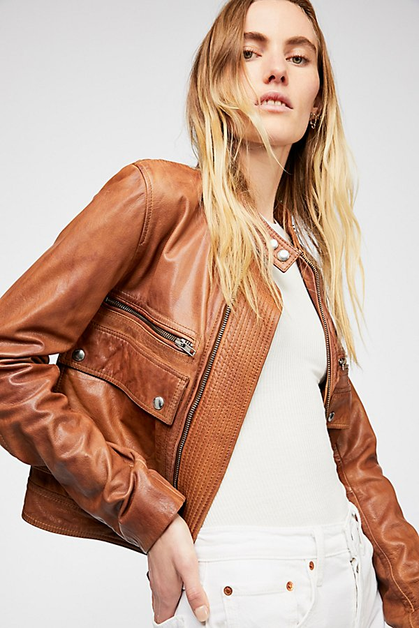 Slide View 1: Love Aviator Leather Jacket