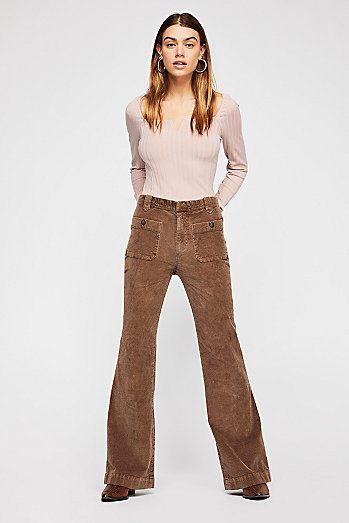 Hip-Hugging Flare Cord Pants