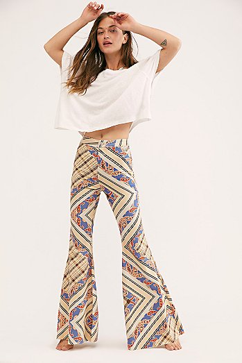 Just Float On Printed Flare Jeans