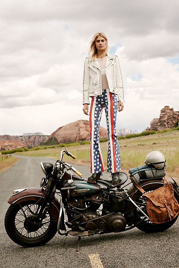Penny Pull On Stars &Amp; Stripes Flare Jeans by Free People