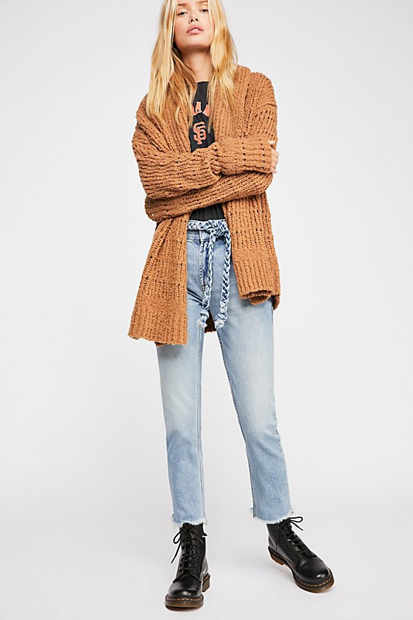 Slide View 1: Hi & Belted Slim Straight-Leg Jeans
