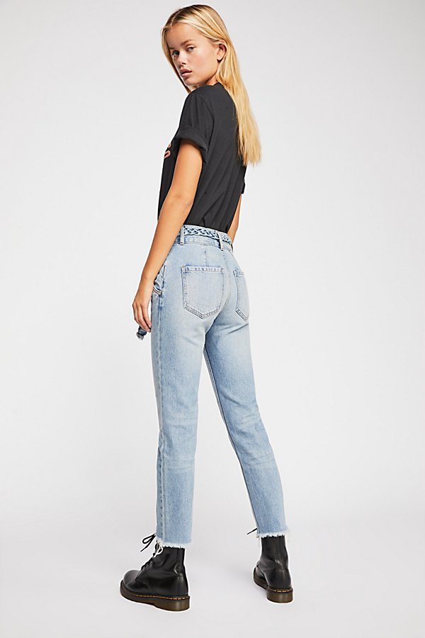 Slide View 3: Hi & Belted Slim Straight-Leg Jeans