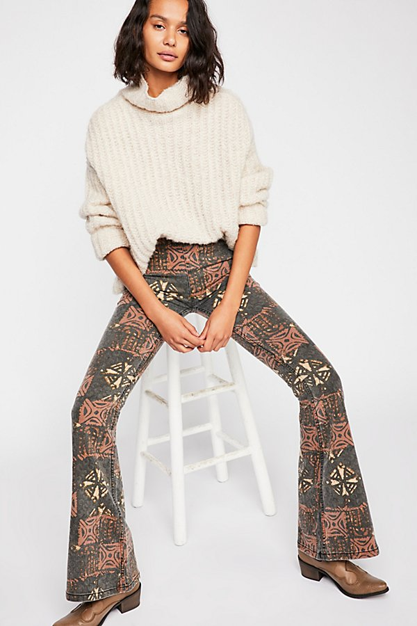 Slide View 1: Printed Penny Pull-On Flare Jeans