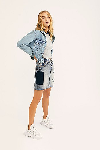 Stitched Denim Skirt