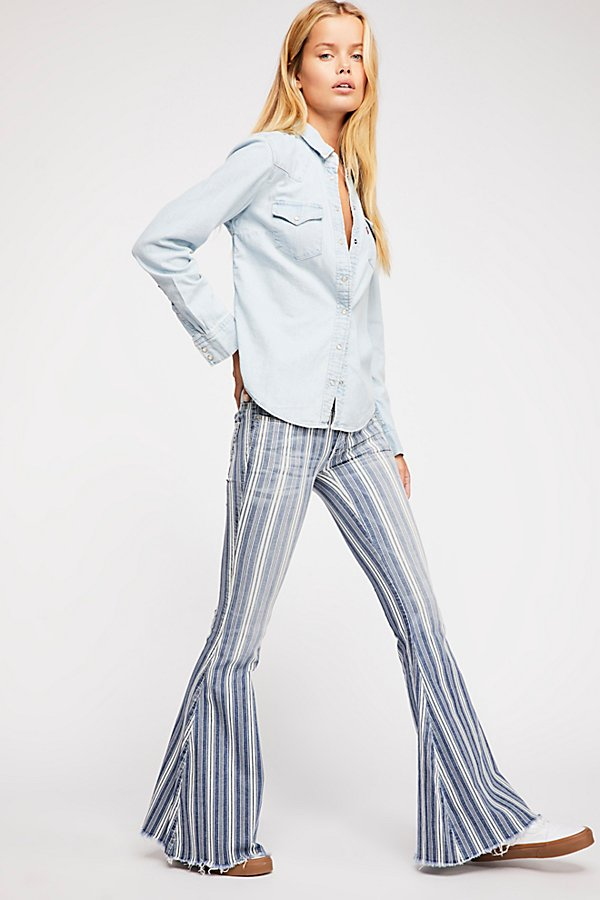 Slide View 1: Denim Super Striped Flare Jeans