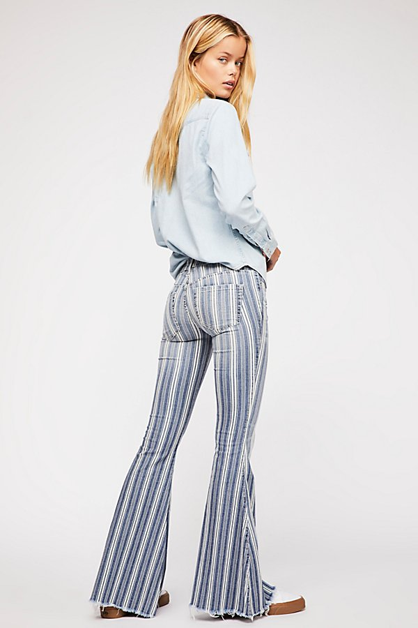 Slide View 2: Denim Super Striped Flare Jeans