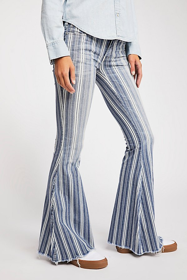Slide View 3: Denim Super Striped Flare Jeans